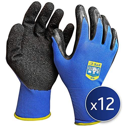 S&R Schutzhandschuhe, 12 Paar aus Nylonfaser mit Latexbeschichtung, Gr. M/8, geeignet für den privaten und gewerblichen Gebrauch