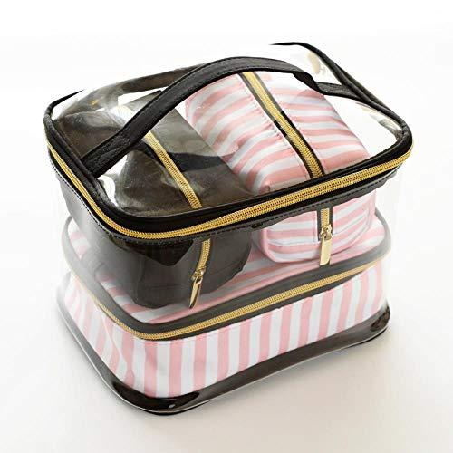 JIAN&K Kosmetiktasche Transparent PVC Kosmetiktasche Reisetasche Vier Stück Tragbare Multifunktions Anzug Rosa Make-Up Aufbewahrungstasche Makeup Artist 3
