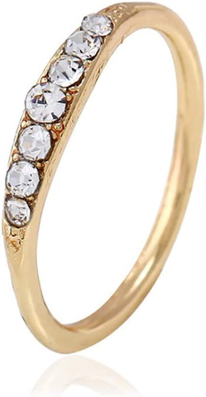 GloryMM Shiny Stackable Ring Dainty Ring Cluster Rings Ultra Thin Cubic Zirconia Stacking Band Ring for Women Girls,Gold,10#