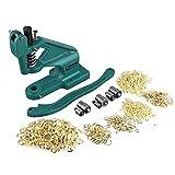 Remachadora de máquina con pinza de ojales, profesional, prensa manual de cremallera con 3 plantillas y 900 ojales 6 mm/10 mm/12 mm