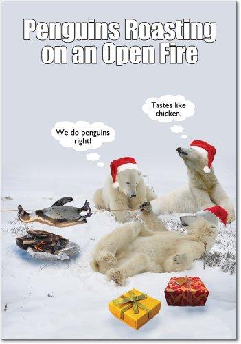 Photo of Penguin Roasting Open Fire Christmas Joke Card (12 Pack)