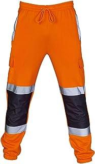 BHYDRY Hi Vis Trousers Orange Jogging Men Road Work High Visibility Casual Pocket Pants