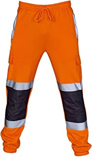Casual Joggers Slim Trousers,Mens Safety Workwear Jogging Bottoms Sweat Pants Visibility Overalls Fitness Long Trouser