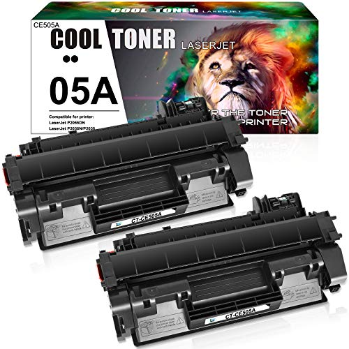 Cool Toner Compatible Toner Cartridge Replacement for HP 05A CE505A Toner for HP Laserjet P2035 P2055dn P2035n P2055d P2055x HP P2055 P2030 P2050 P2055 P2035 Printer Cartridge Ink (Black, 2-Pack)