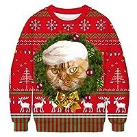 ユニセックス3Dクリスマスプルオーバー、面白いクリスマス動物スウェット、エルフプリント長袖Tシャツ,6,XL