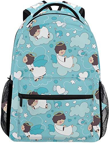 MODORSAN Mochila escolar informal con dibujos animados bonitos Ángeles pequeños, mochila de viaje ligera, bolso de hombro universitario para mujeres, niñas y adolescentes