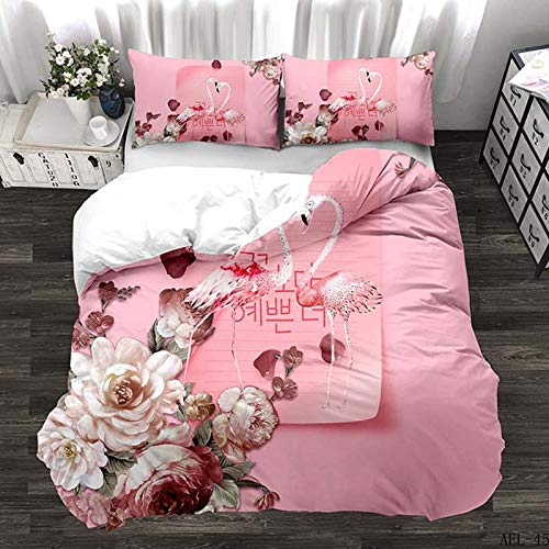 N/D Flamingo Duvet Cover Set Flower Leaves Print Kids Bedding Set 3 Piece Double Size Quilt Cover (1 X Duvet Cover + 2 X Pillowcase) 200x200cm A