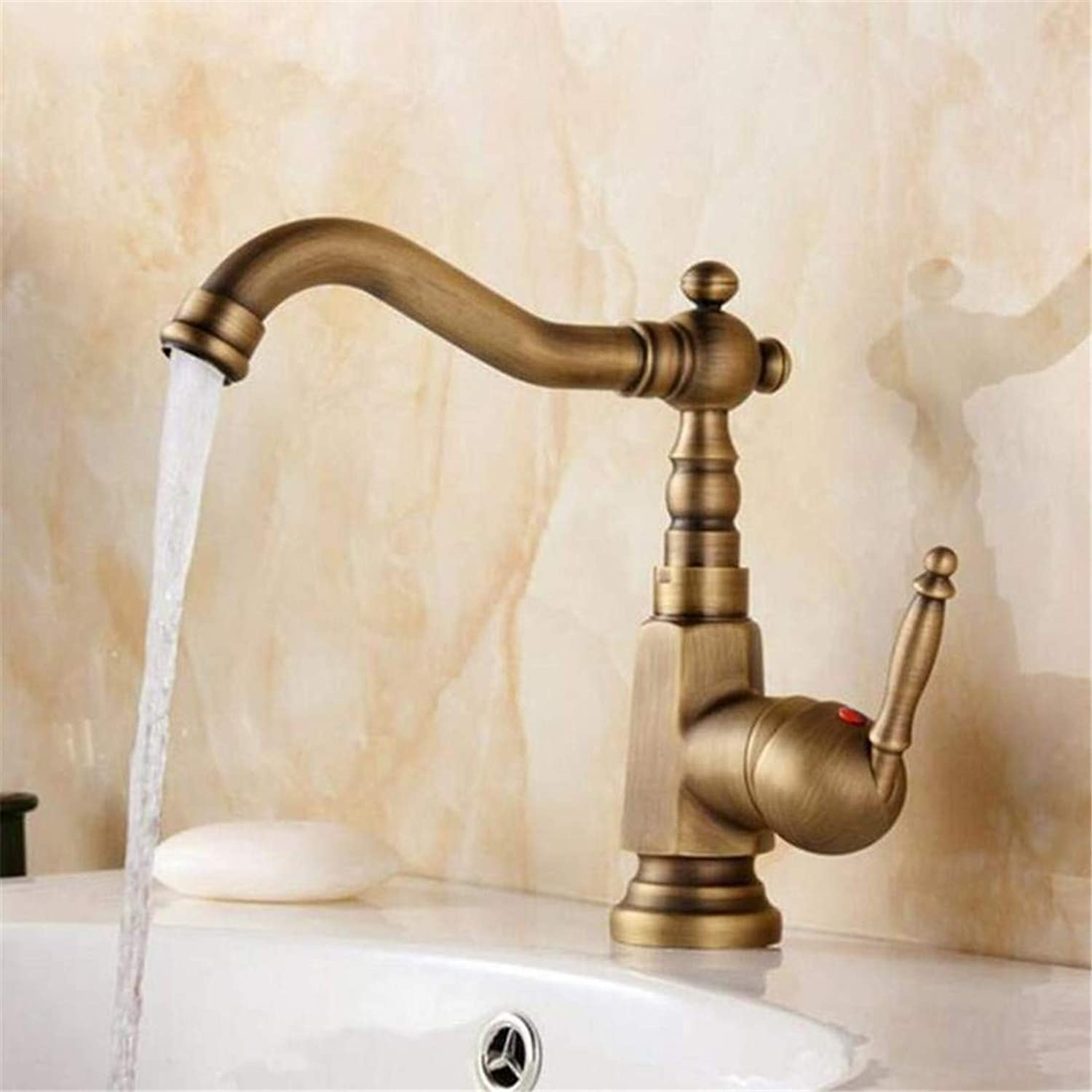 Faucet Retro Kitchen Bathroom Faucet Faucet Washbasin Mixer 360 Degree redating Single Handle Bathroom Faucet Antique Brass Hot and Cold Water Tap