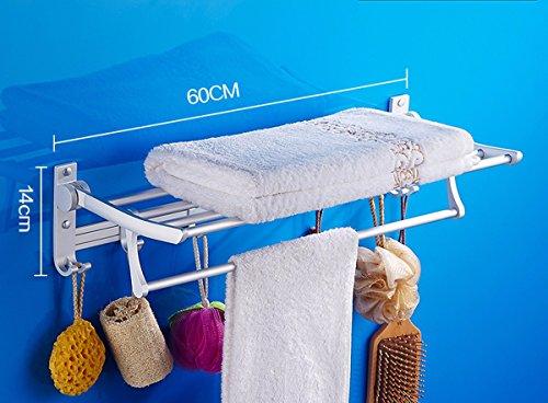 ZXC Bathroom Racks badkamermeubels van aluminium handdoek, geen rosie met douche, rek, opvouwbaar voor badkamer rek, badkamer, pendant hardware, double deck 60cm Style 5