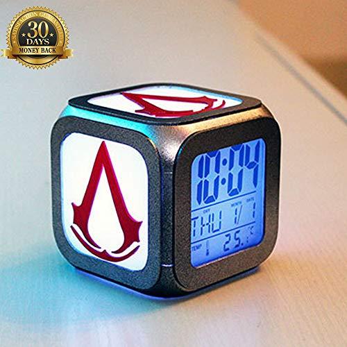 XLBAXLJ Assassins Creed 3D pequeña Alarma, Pantalla LED LED Noche Estudio Dormitorio de la luz de Noche Hueco Grabado de la batería Figura Silueta con conexión USB