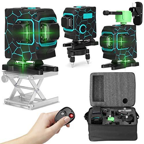 Kecheer Nivel láser autonivelante 360° con base y trípode,2 baterías,Nivelador laser 12 lineas 3D,Laser de linea verde profesionales