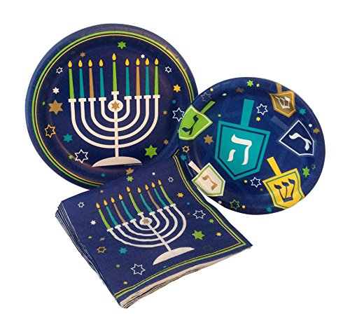 Hanukkah Icons Party Supply Pack! Bundle Includes Paper Plates & Napkins for 8 Guests