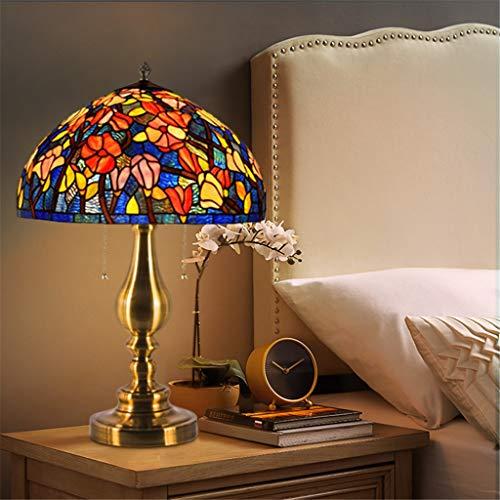 16 pouces 2 style lampe de table tiffany abat-jour en verre coloré fleur rouge tiffany lampe salon lampe de chevet (Couleur : A)