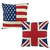 Luxbon Conjunto de 2 Fundas Cojín Almohada Lino Duradero Bandera USA y UK Decorativos para Sofá Cama Coche 45x45 cm