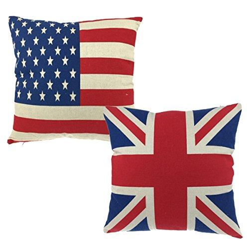 Luxbon Set di 2 Stati Uniti & Union Jack Bandiera Britannica Federa per Cuscino in Contone Lino Copricuscino Decorativo per Casa Divano Sedia Stanza Letto 45 x 45 cm