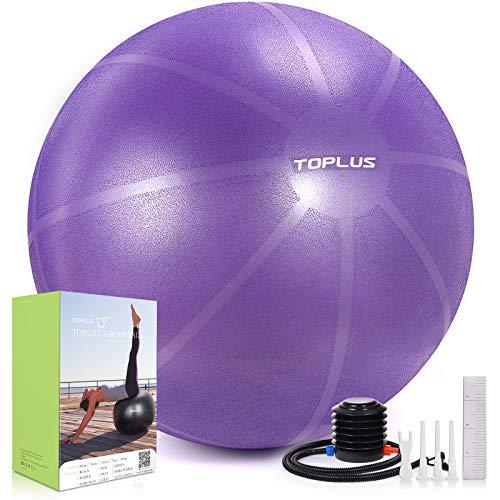 TOPLUS Gymnastikball Sitzball Extra Dicker Yoga-Ball-Stuhl, Anti-Berst-Stabilitätsball für hohe Beanspruchung, Balance Ball mit Schnellpumpe-Dunkelviolett&65cm