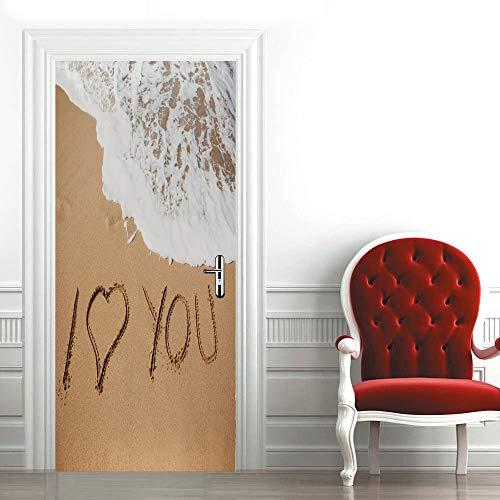 Etiqueta de Puerta Autoadhesiva Extraíble Olas de Letras de Playa Adhesivo Decorativo de Puerta 77X200 cm