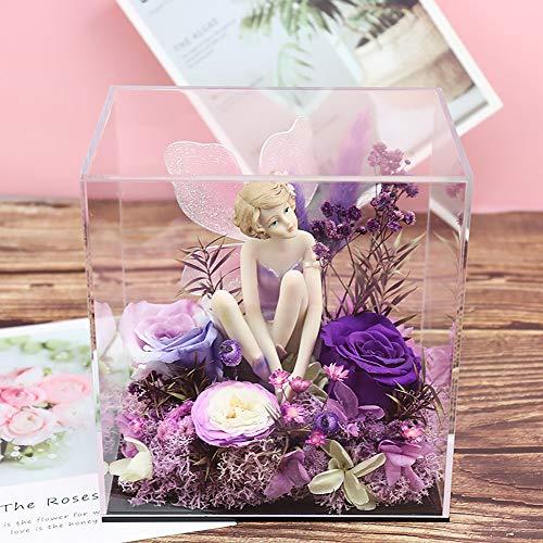 PUDDINGHH® Flor Eterna Caja de Regalo, Flor Rosa, Flores, Día de San Valentín, Navidad, Regalo Creativo, Novia, Amante, Regalo de Cumpleaños,Purple