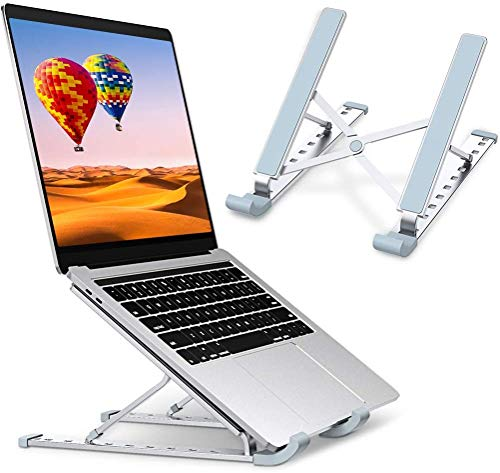 """Laptop Stand, Aluminum Laptop Holder Riser, Adjustable Computer Tablet Stand with 6 Angles, Foldable Portable Laptop Desk Mount for MacBook, iPad, Lenovo, HP, Dell, More 10-15.6"""" Laptops (Aluminum)"""