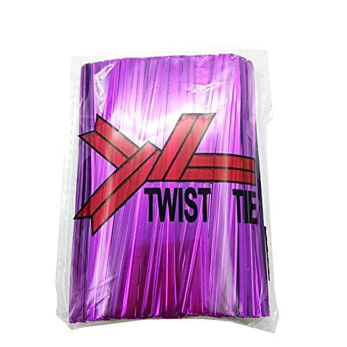 H-Laner 600Pcs 4Inches Metallic Twist Ties - Purple