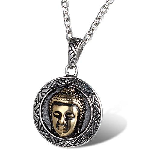 Cupimatch Collar de cadena con colgante de buda de la suerte de acero inoxidable, tono dorado, estilo vintage, para hombres y mujeres, 55,88 cm