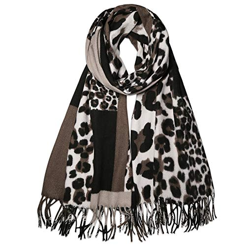 SOJOS Womens Leopard Print Scarf Large Long Wrap Shawl with Tassel SC336 with Dark Brown Leopard