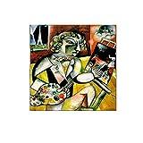 VCFHU Marc Chagall Autorretrato Arte De La Pared Pintura Abstracta De La Lona Poster Famosos Impresiones Cuadros De Pared Modernos para La Salon De Estar Decoracion del Hogar 60x60cm Sin Marco