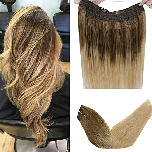 """LaaVoo 14"""" Fish Line Halo Long Straight Remy Human Hair Extension Adjustable Invisible Wire Color Light Brown to DarkGoldenBlonde 80g Best Quality Halo Flip Hair Extensions"""