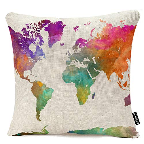 Vintage Map of The World Map Watercolor Cotton Linen 18 x 18 Inch Square Throw Pillow Covers with Hidden Zipper Home Sofa Cushion Decorative Pillowcases