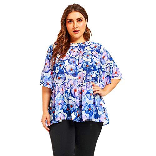 wengshilin vrouwen chiffon boho bloemenprint casual t-shirt plus size zomer tops blouse vleermuis shir