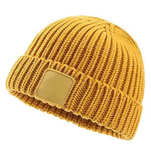 DaMohony Kinder-Wintermütze, warme Strickmütze für 3–8 Jahre M gelb