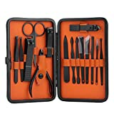 Set de 15 herramientas de manicura, juego de cortauñas, cortauñas, kit de aseo personal, herramientas de uñas con estuche de cuero