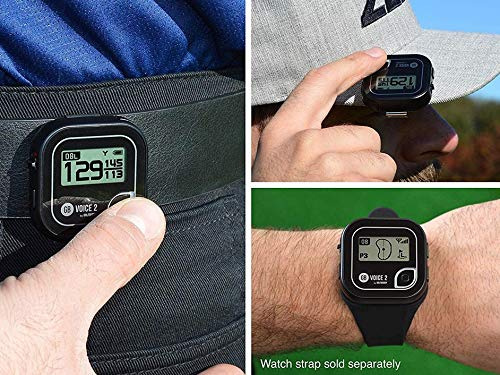 Golf Buddy Voice 2 Golf Rangefinder Talking Golf GPS Devices for Hat, Golf Distance Range Finder for Golfers, 14 Hours Battery Life, Water Resistant, Golf Accessories for Men and Women, Black