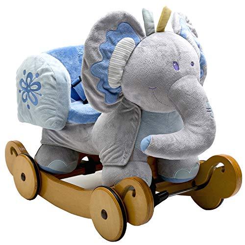 Labebe Caballo Mecedora de Madera 2-en-1 Elefante Azul, niños Rocking Ride-on Juguetes de 6 Meses a 3 años de Edad bebés y bebés, Uso Dual como Cochecito, Certificado de Seguridad ASTM