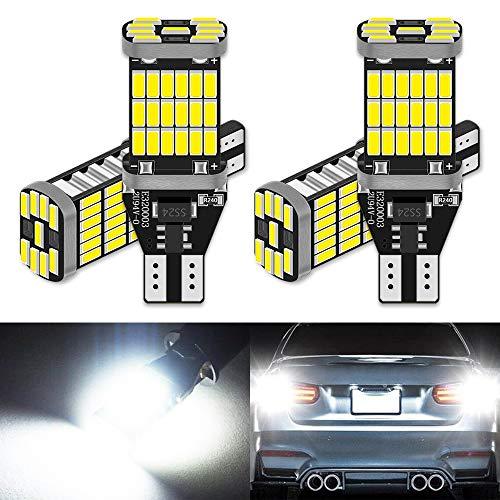 ALOPEE (Pack de 4) 921 912 T10 T15 Xenon Blanc 1000 lumens 12V-24V Haute Qualité Non-Polarité Canbus sans Erreur AK-4014 45 pcs Chipset LED Ampoules pour la Sauvegarde Inversé Lumières 6000K