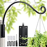"""Lifyzoon Heavy Duty Plant Hanger Bracket (22""""/Black) Outdoor Hand-Forged Hanging Plant Bracket Durable and Stable Bird Feeder Hanger"""
