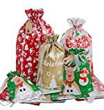 Christmas Drawstring Gift Bags, 24pcs Assorted Jumbo/Large/Medium/Smal Gifts Bags for Christmas Decorations, Xmas Gift Bags with Gift Tags for Christmas Holiday, Drawstring Bags, Gift Wrapping Bags