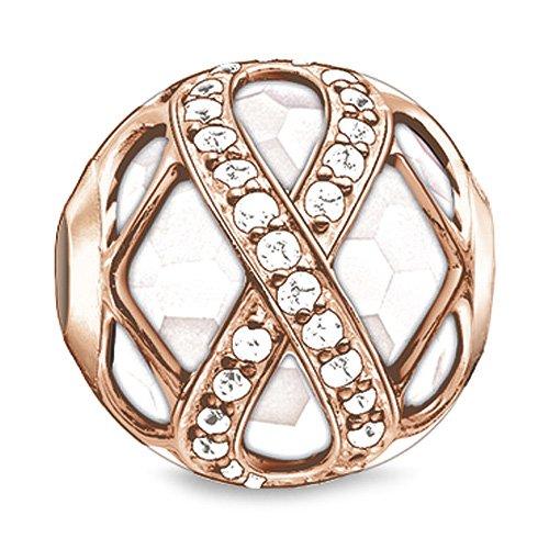 Thomas Sabo Damen-Bead KARMA Infinity rosé Silber vergoldet teilvergoldet Zirkonia weiß Jade - K0175-841-14