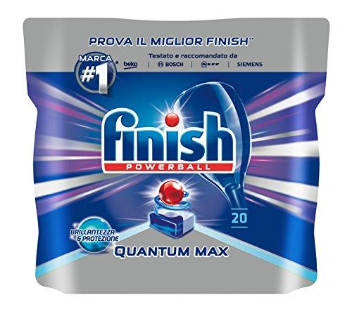 Finish Quantum Max Pastiglie, Detersivo Lavastoviglie, Regular, 20 Tabs