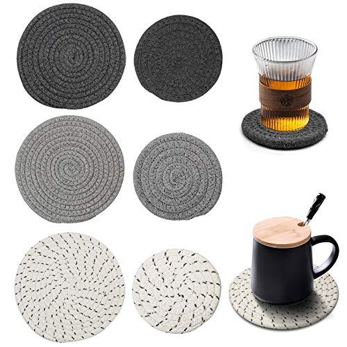 Surmounty Untersetzer 6 Stück Geflochtene Untersetzer, Tischset Rund Baumwolle Tischmatten, Hitzebeständig Platzsets für Töpfe, Pfannen, Schüsseln, Vasen