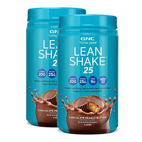 GNC Total Lean Lean Shake 25 Protein Powder - Chocolate Peanut Butter, Twin Pack, 16 Servings per Bottle, High-Protein Meal Replacement Shake