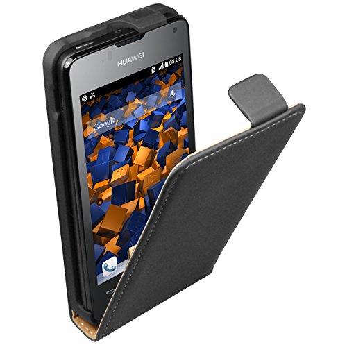 mumbi Tasche Flip Hülle kompatibel mit Huawei Ascend Y300 Hülle Handytasche Hülle Wallet, schwarz