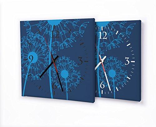 Printalio - Pusteblume Blau - Lautlose Wanduhr mit Fotodruck auf Leinwand Keilrahmen   geräuschlos kein Ticken Fotouhr Bilderuhr Motivuhr Küchenuhr modern hochwertig Quarz   30 cm x 30 cm mit weißen