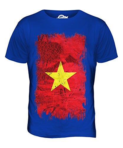 Candymix Vietnam Grunge Flagge Herren T Shirt, Größe Small, Farbe Königsblau
