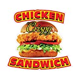 Die-Cut Sticker Multiple Sizes Chicken Sandwich Style C Restaurant & Food Chicken Indoor Decal Concession Sign Red 14in Longest Side