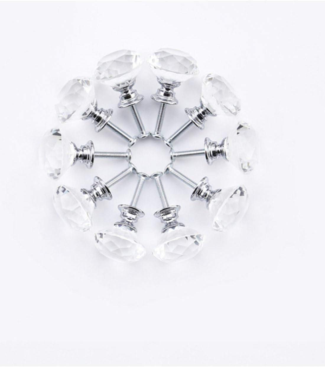 cajones y tiradores con tornillo para la decoraci/ón del hogar Perillas de cristal muebles armarios Pomos de cristal de 10 X 30 mm para puertas