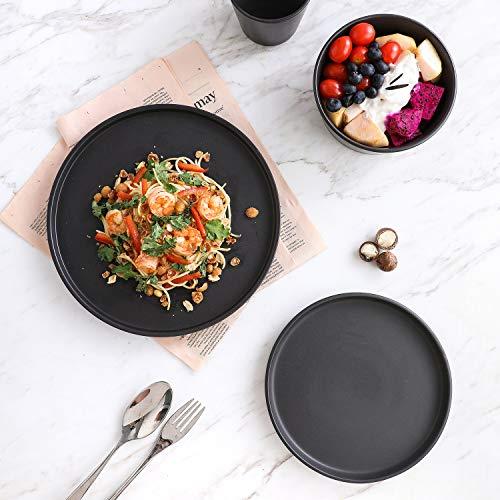Stone Lain Coupe Dinnerware Set, Service For 8, Black Matte