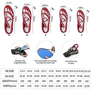 Valsole Plantillas Ortopédicas soportes de arco y talones la absorción de choque- para el dolor de talón, pie plano, Fascitis Plantar, dolor de rodilla y espalda (43-44 EU (280mm), red-v7a)