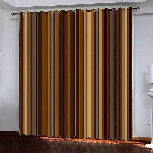 MEKVF Wärmedämmvorhang Eyelet Vorhang, 3D Printing Shading Vorhänge Balkon Vorhänge Schlafzimmer Fenster,2 Panel 150x166cm(Wxl) Sepia Dunkle Streifen