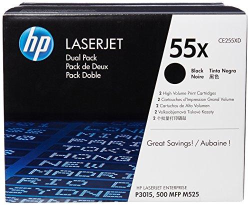 HP 55X 2er-Pack (CE255XD) Schwarz Original Toner mit hoher Reichweite für HP Laserjet Enterprise P3015, M525, HP Laserjet Pro M521